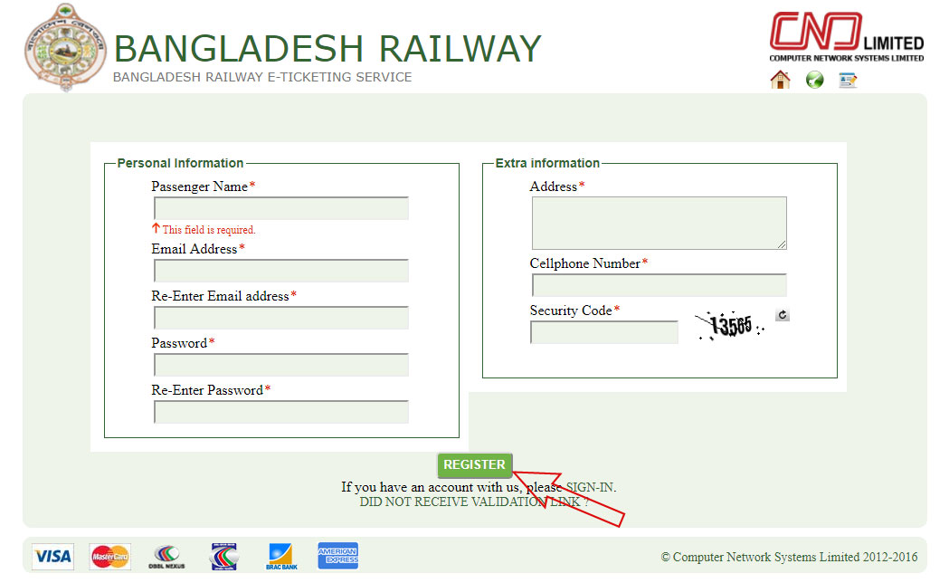 BD Railway E-ticket Booking Process
